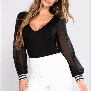 Fashion Nova Teach Me Now Black Bodysuit Size M